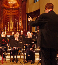 Shea conducting BWE at St George's Bloomsbury in 2012